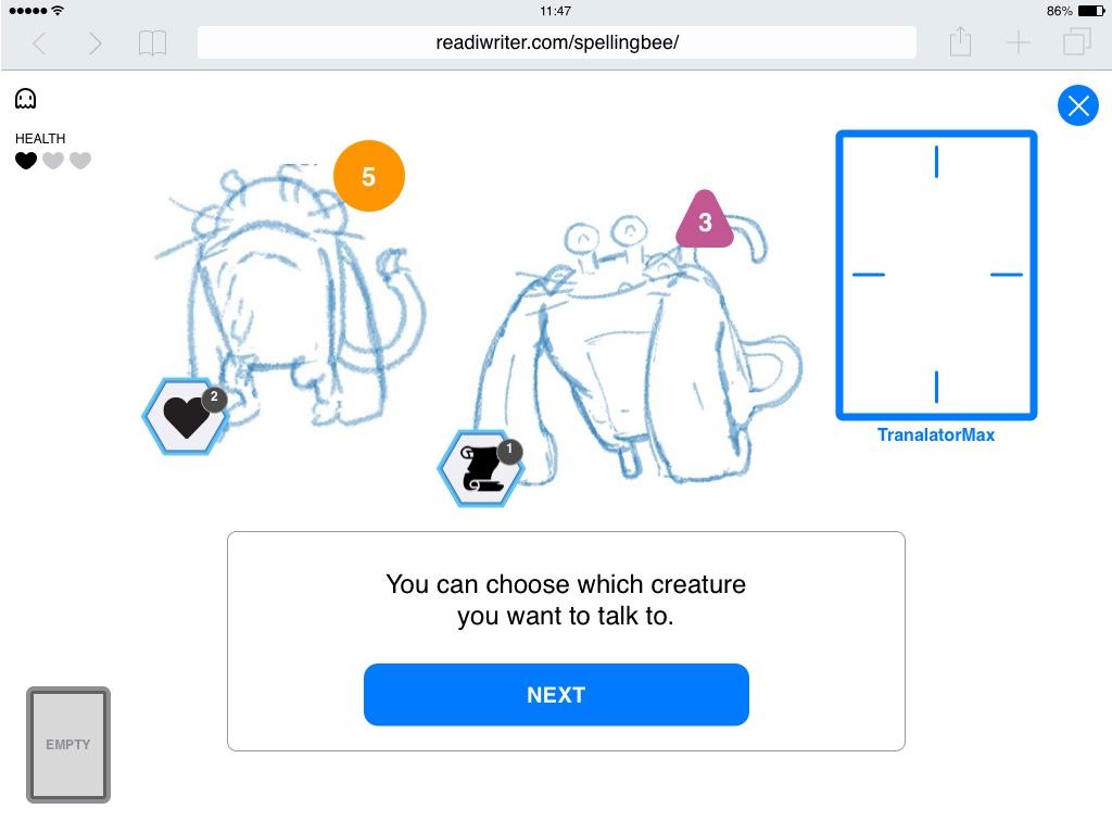 Monsters sketch in a spelling game