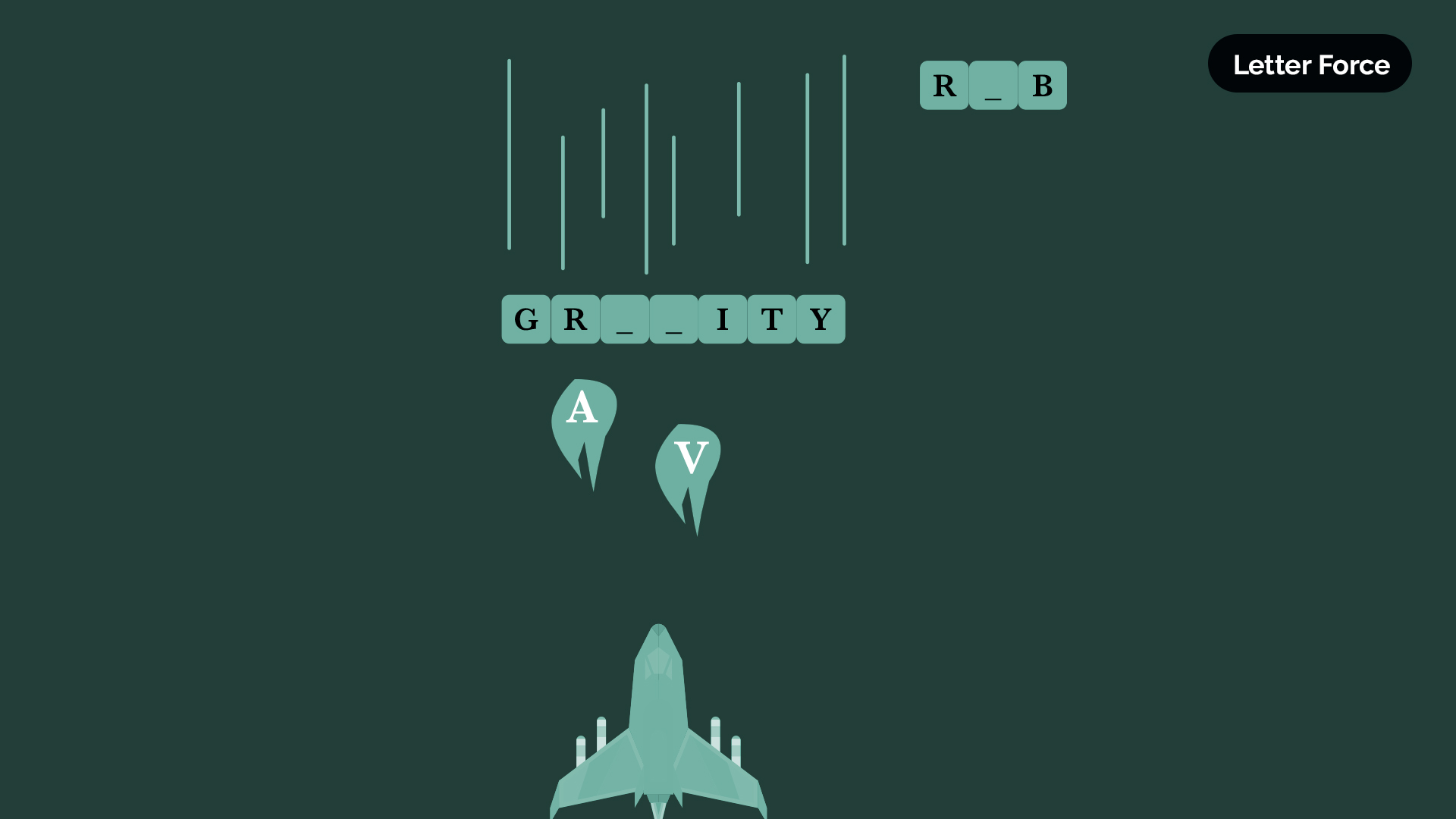 Letter Force Asteroids style game