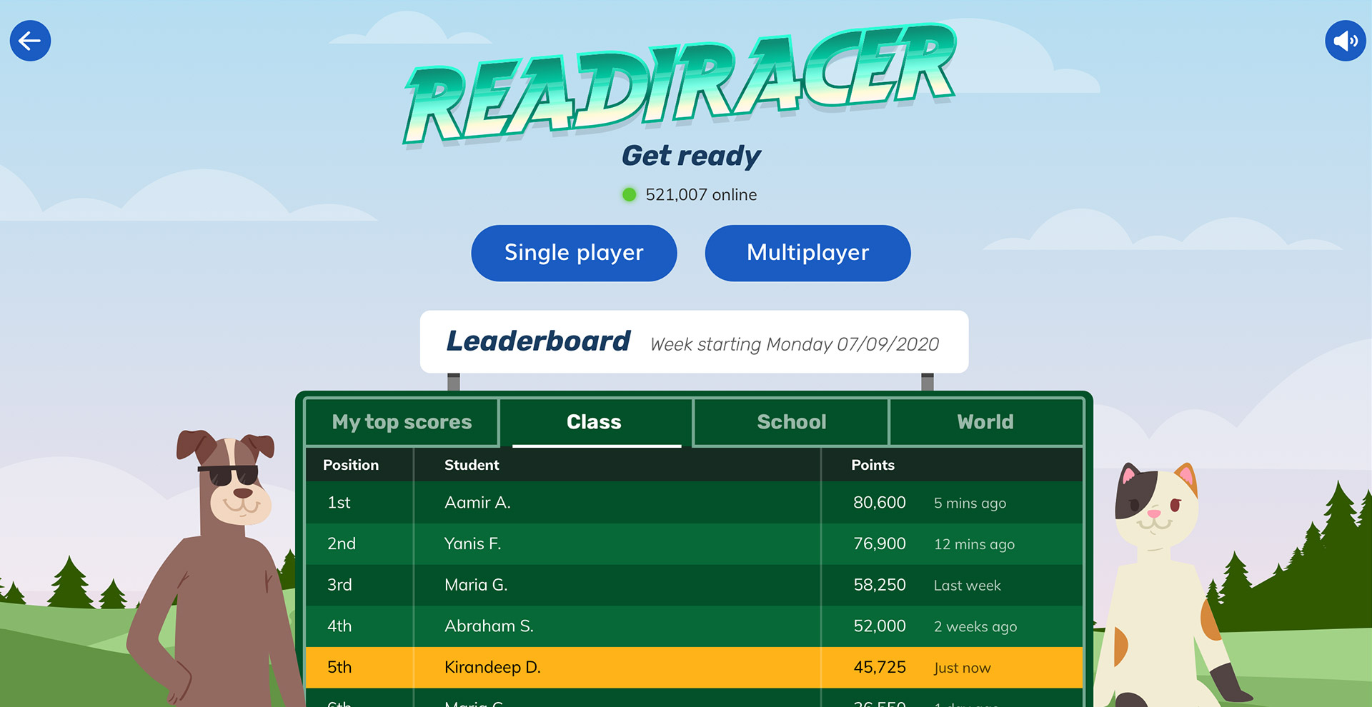 Video game leaderboard in spelling EdTech game