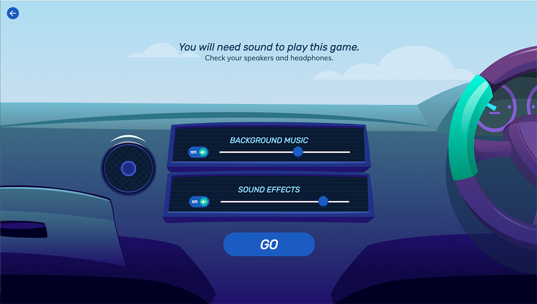 sound control UI in an educational edtech video game
